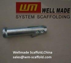 Scaffolding frame drop lock pin