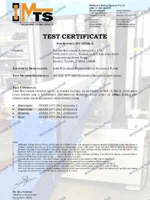 AS 1577 Scaffold Boards Test Report
