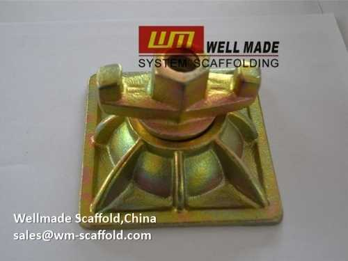 formwork dome combination with tie rod wing nut and waler plate
