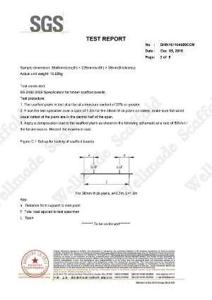 BS 2482 Wood Scaffold Board Test Report