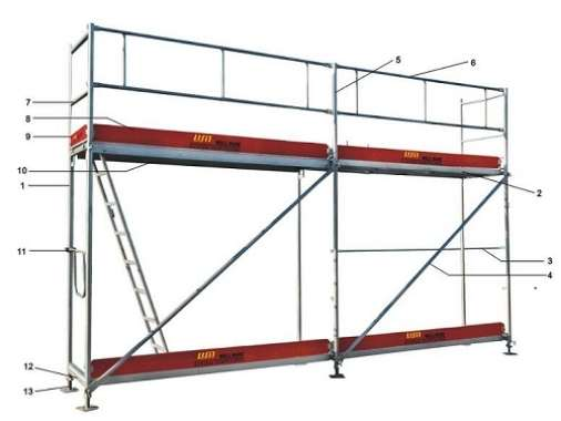 layher scaffolding frame components assembly