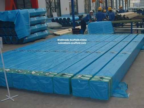 Scaffolding pipe with film packed