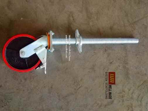 Adjustable scaffolding caster wheel